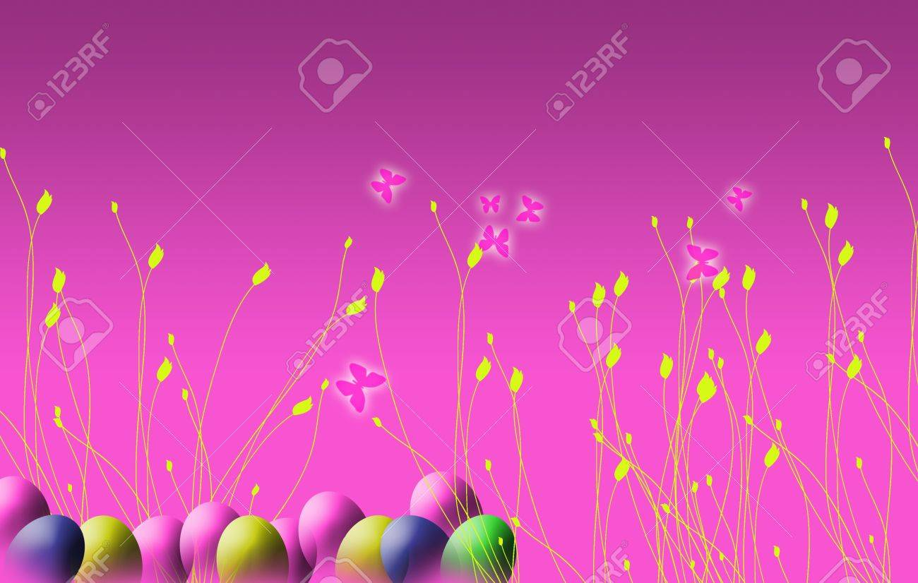 a landscape format image of an easter themed background on a stock