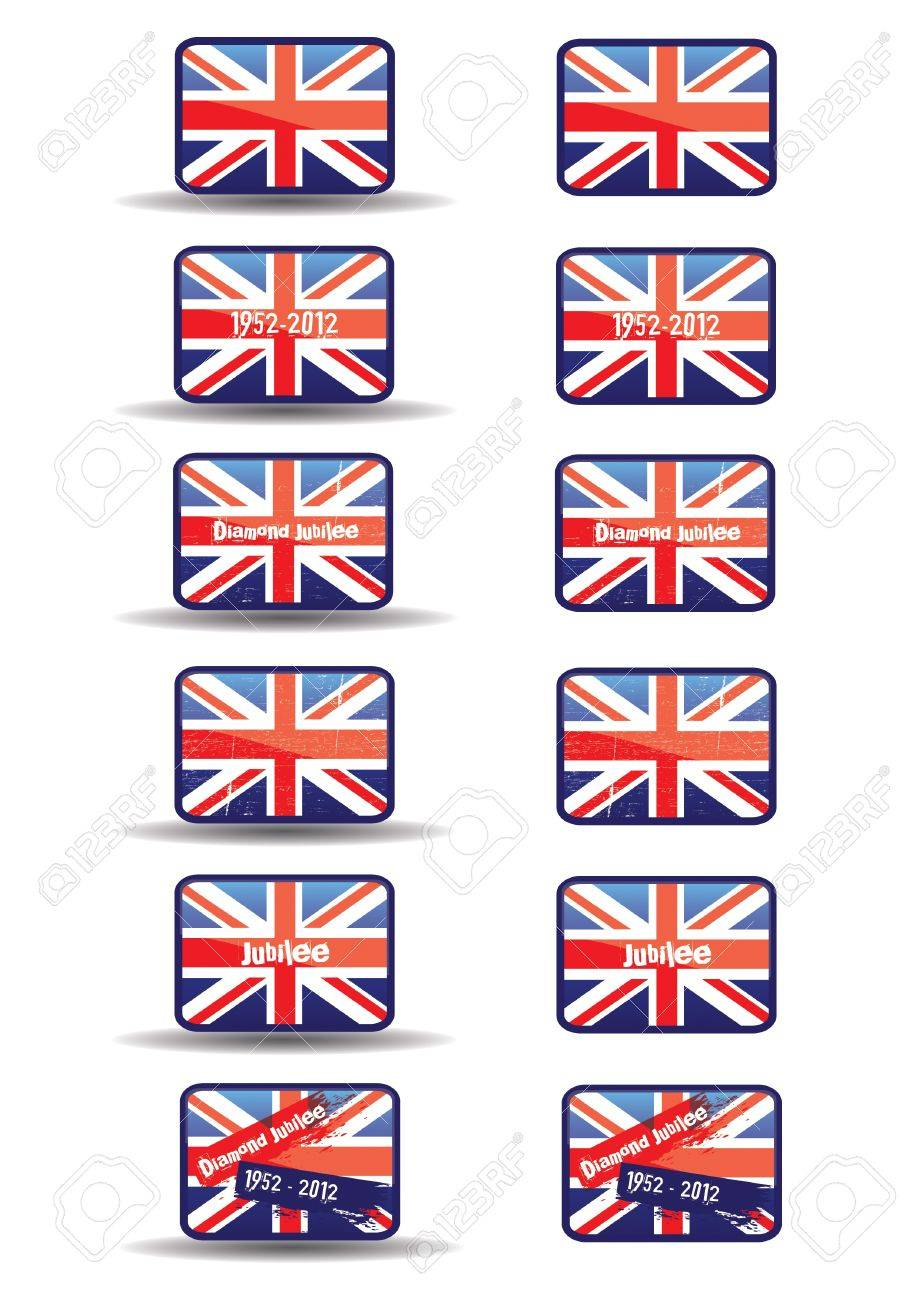 A set of twelve web buttons with a jubilee theme  Buttons with text and a grunge style effect set over the union jack flag  An additional set without a shadow effect to base  For web or print use  Stock Photo - 12716423