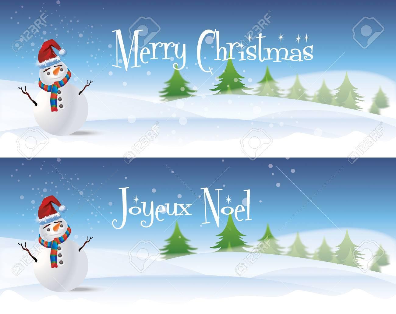 Zwei Horizontale Weihnachten Banner Mit Einem Weißen Schneemann Mit ...