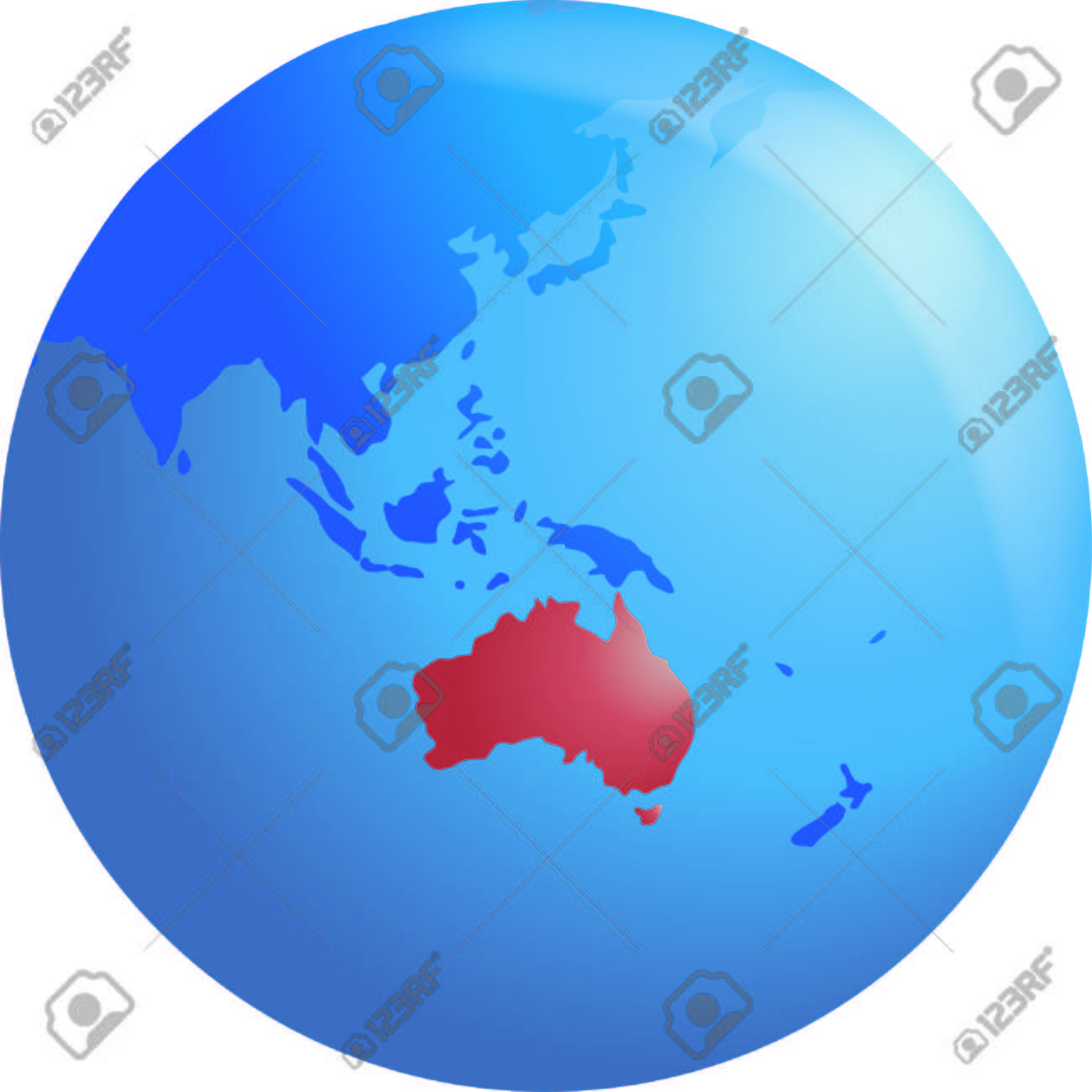 Vector Globe Highlighting Australia Royalty Free Cliparts Vectors - World map highlighting australia