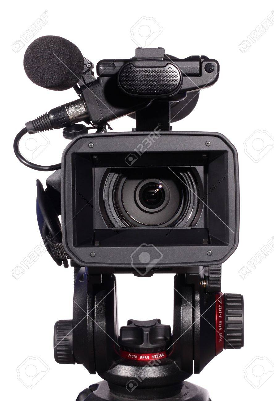 professional camcorder, isolated over white Stock Photo - 9389245