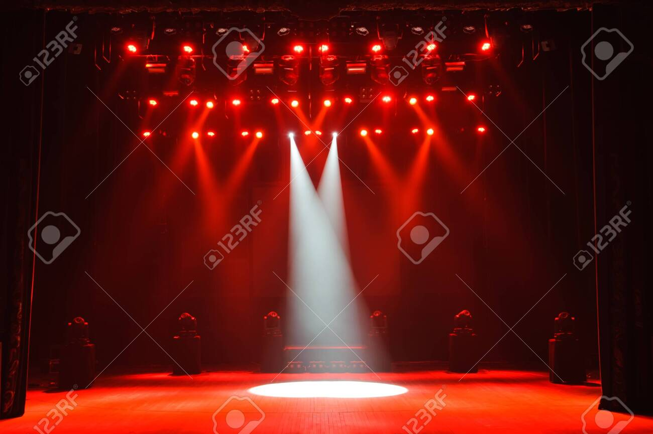 Free stage with lights, lighting devices. Background - 121831415