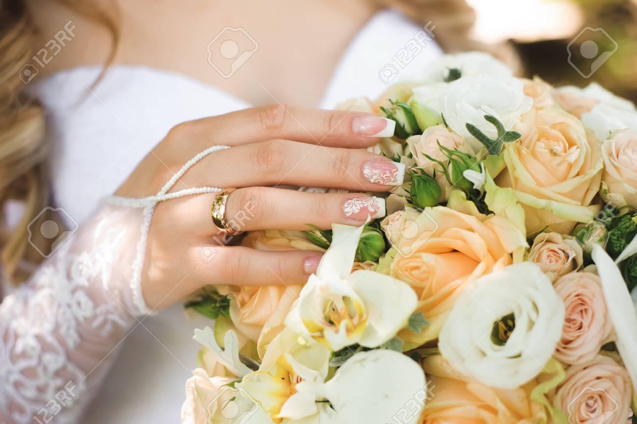Wedding details - wedding bouquet of a bride - 121836462