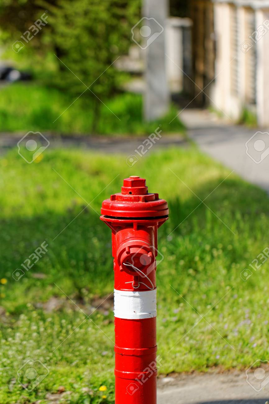 red fire hydrant on the sidewalk Stock Photo - 20208189