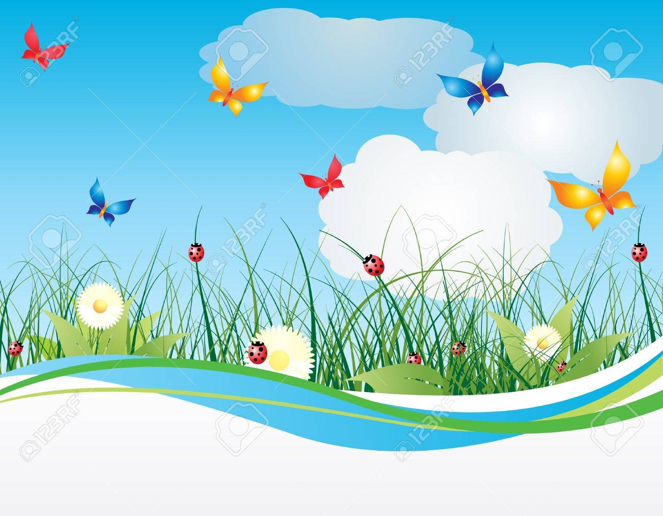 Summer background with flowers and sky Stock Vector - 11356798
