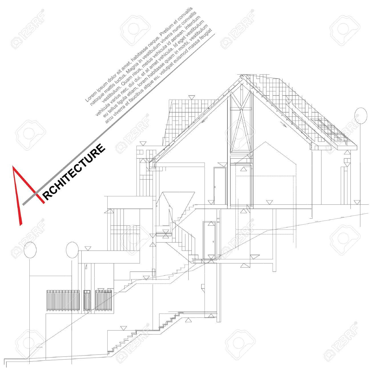 Architectural background  Part of architectural project, architectural plan, technical project, drawing technical letters, architect at work, architecture planning on paper, construction plan Stock Vector - 13914099