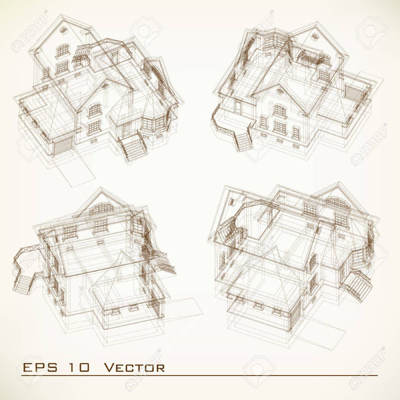 Set Of Building Drawings Architectural Background Part Of