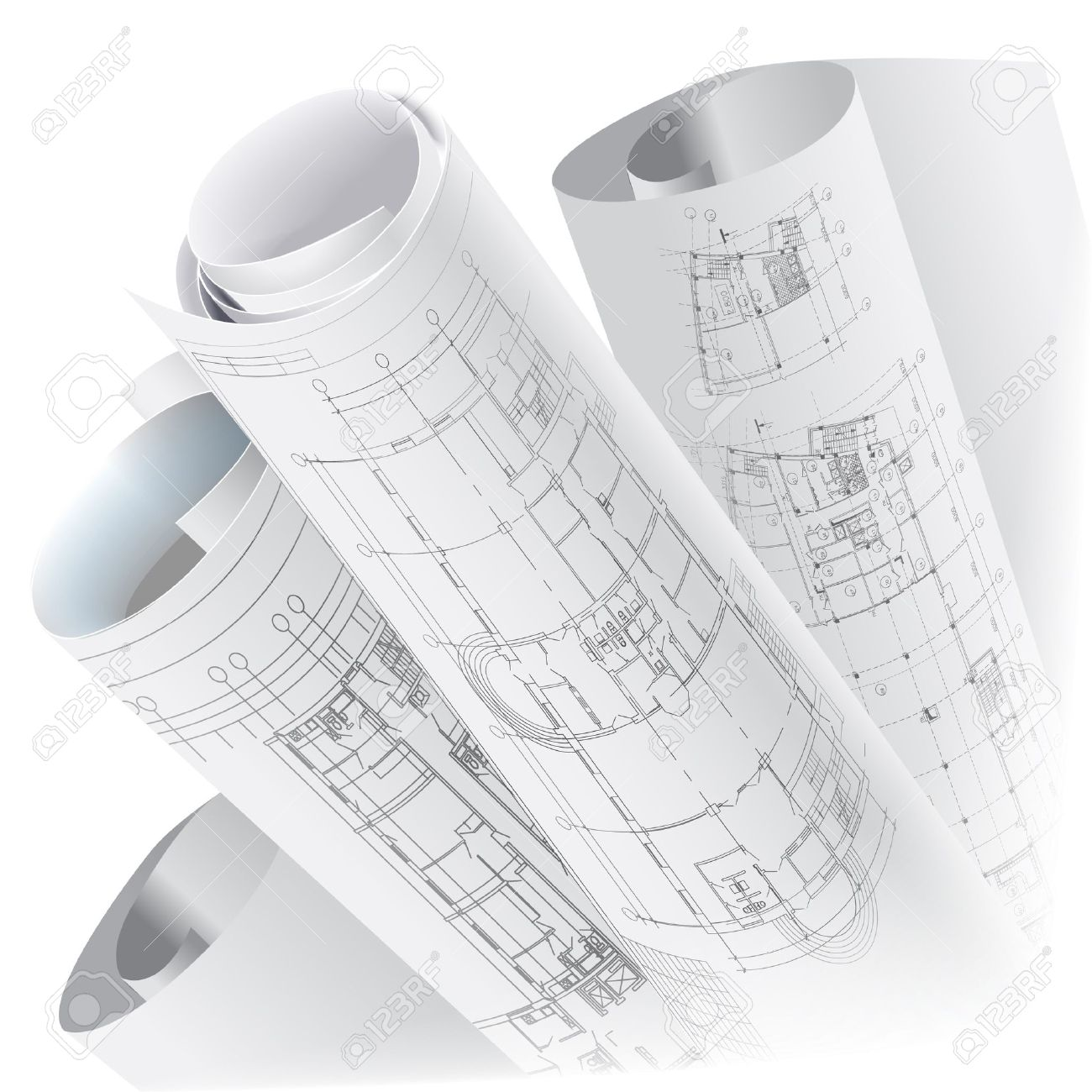 Architectural background with rolls of technical drawings vector architectural background with rolls of technical drawings vector clip art stock vector 14404061 malvernweather Choice Image