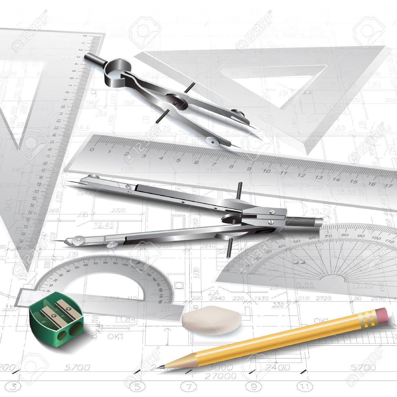 Architectural Drawing Set set of architectural drawing tools, isolated on white royalty free