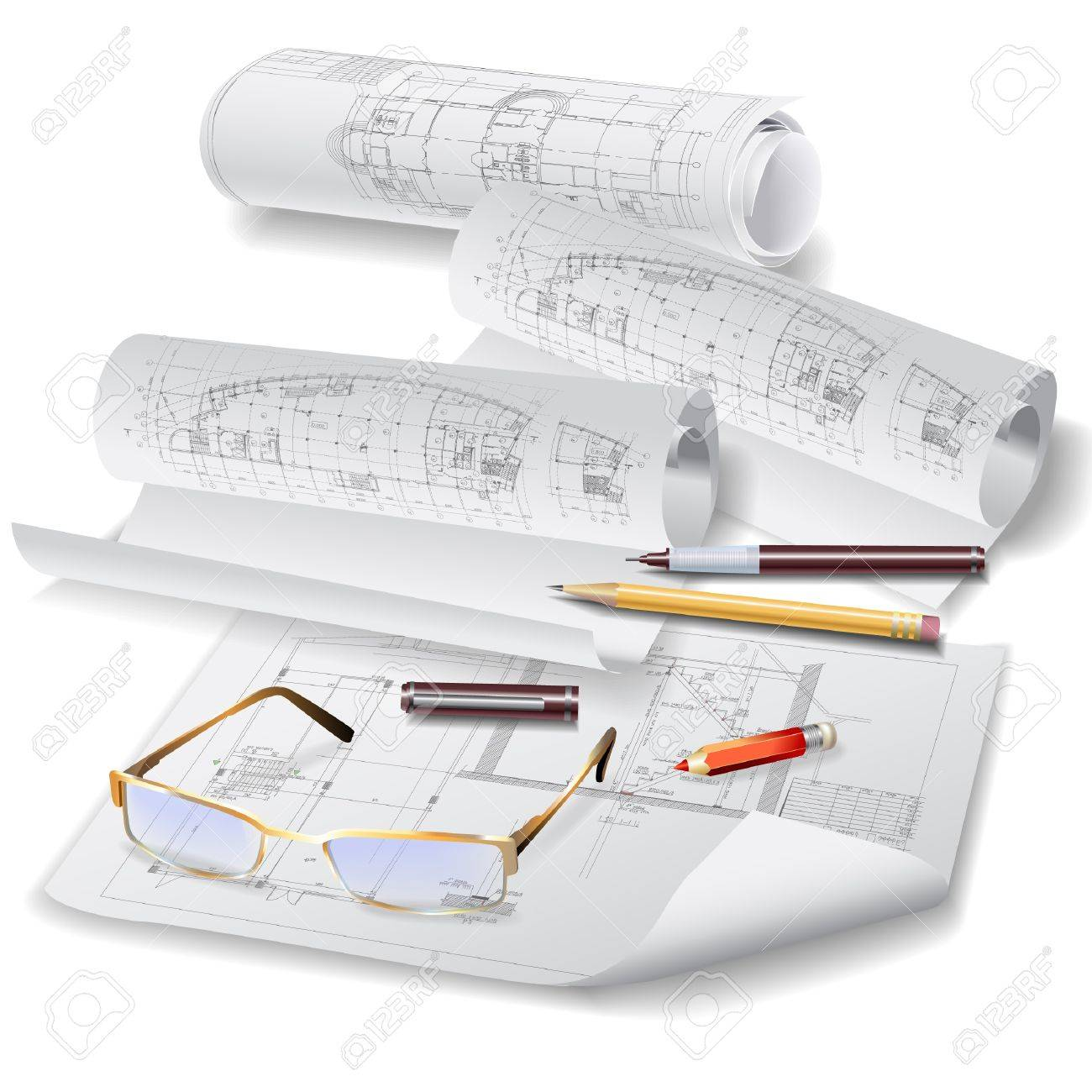 Architectural background with drawing tools and rolls of drawings Stock Vector - 14620674