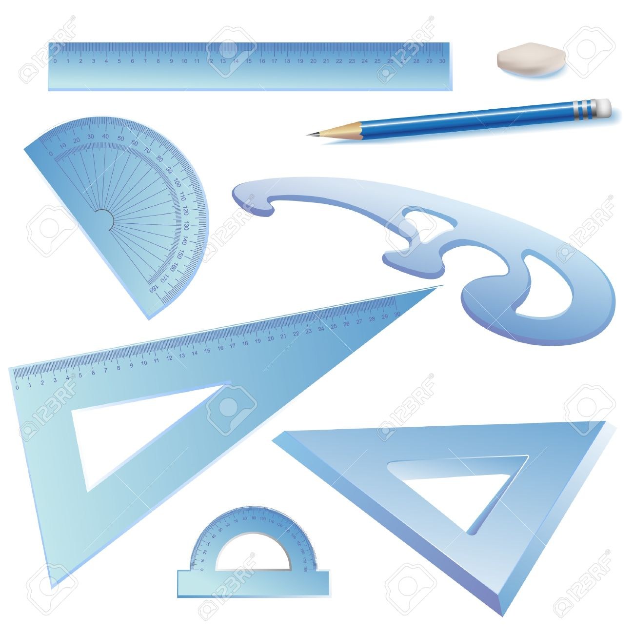 Set Of Architectural Drawing Tools Isolated On White Clip Art Stock Vector