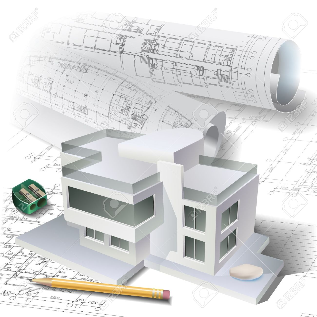 Architectural Background With A 3D Building Model Vector Clip Art Stock  Vector   14827340