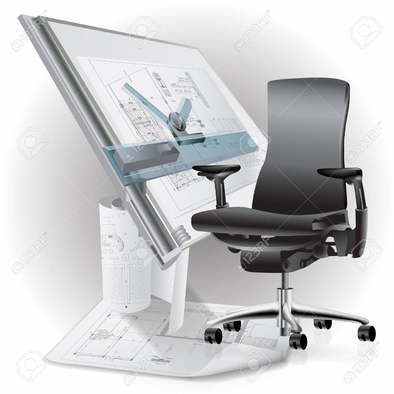 Part of office interior with a chair and architectural drawings - 15141998