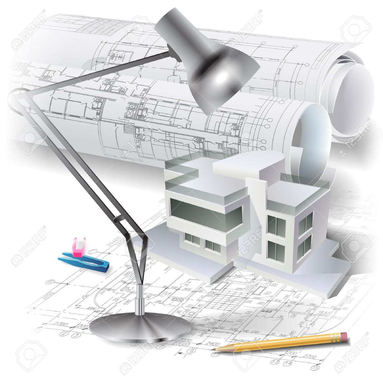 Architectural plans architectural background with a 3d building model
