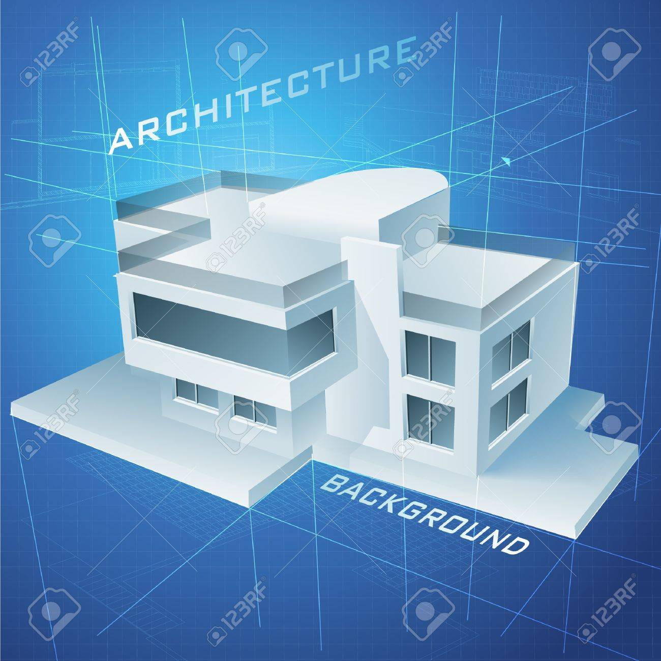 Architectural Background With A 3D Building Model Clip-art Royalty ...