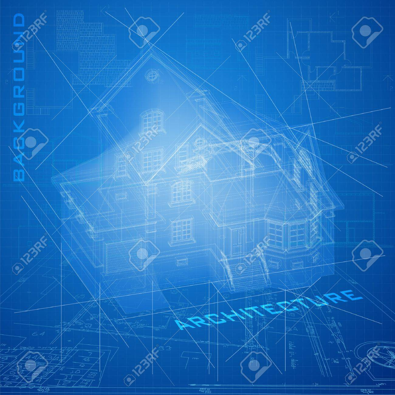 Urban blueprint architectural background with a building royalty urban blueprint architectural background with a building model stock vector 15477715 malvernweather Gallery