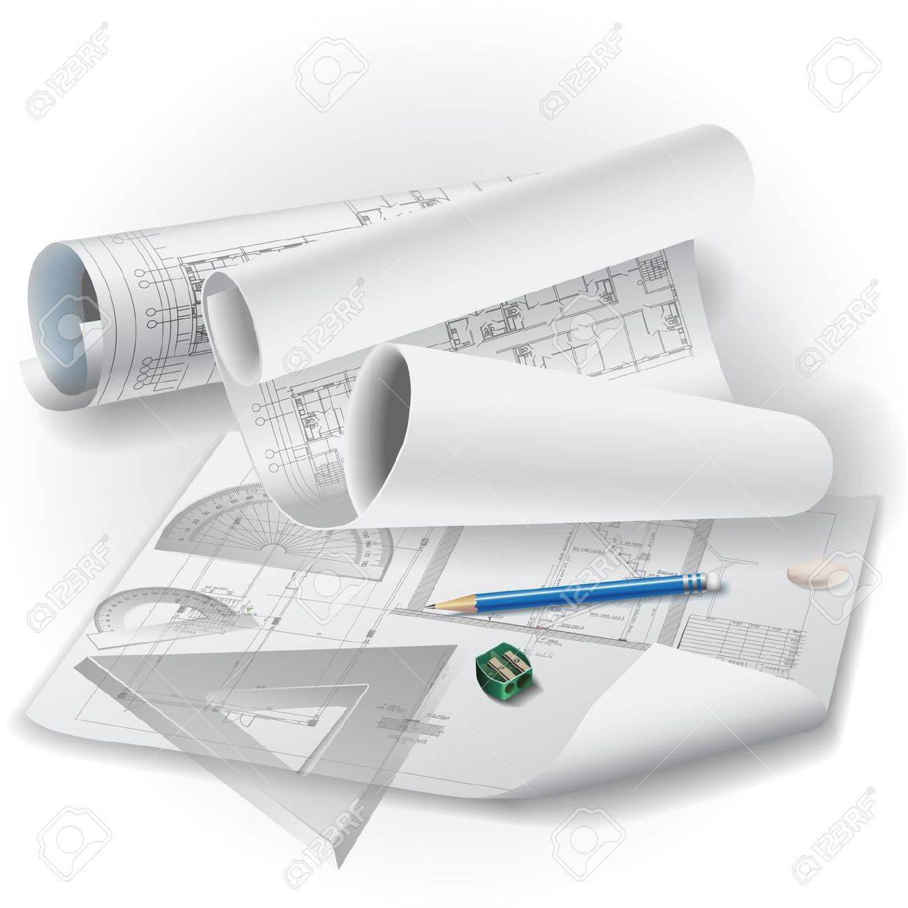 Architectural Background With Drawing Tools And Rolls Of Drawings