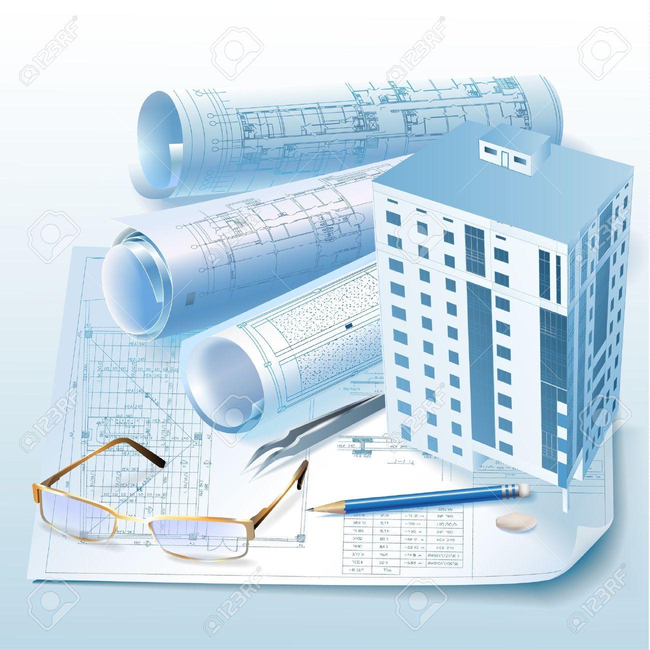 Architecture Blueprints 3d architectural background with a 3d building model clip-art royalty
