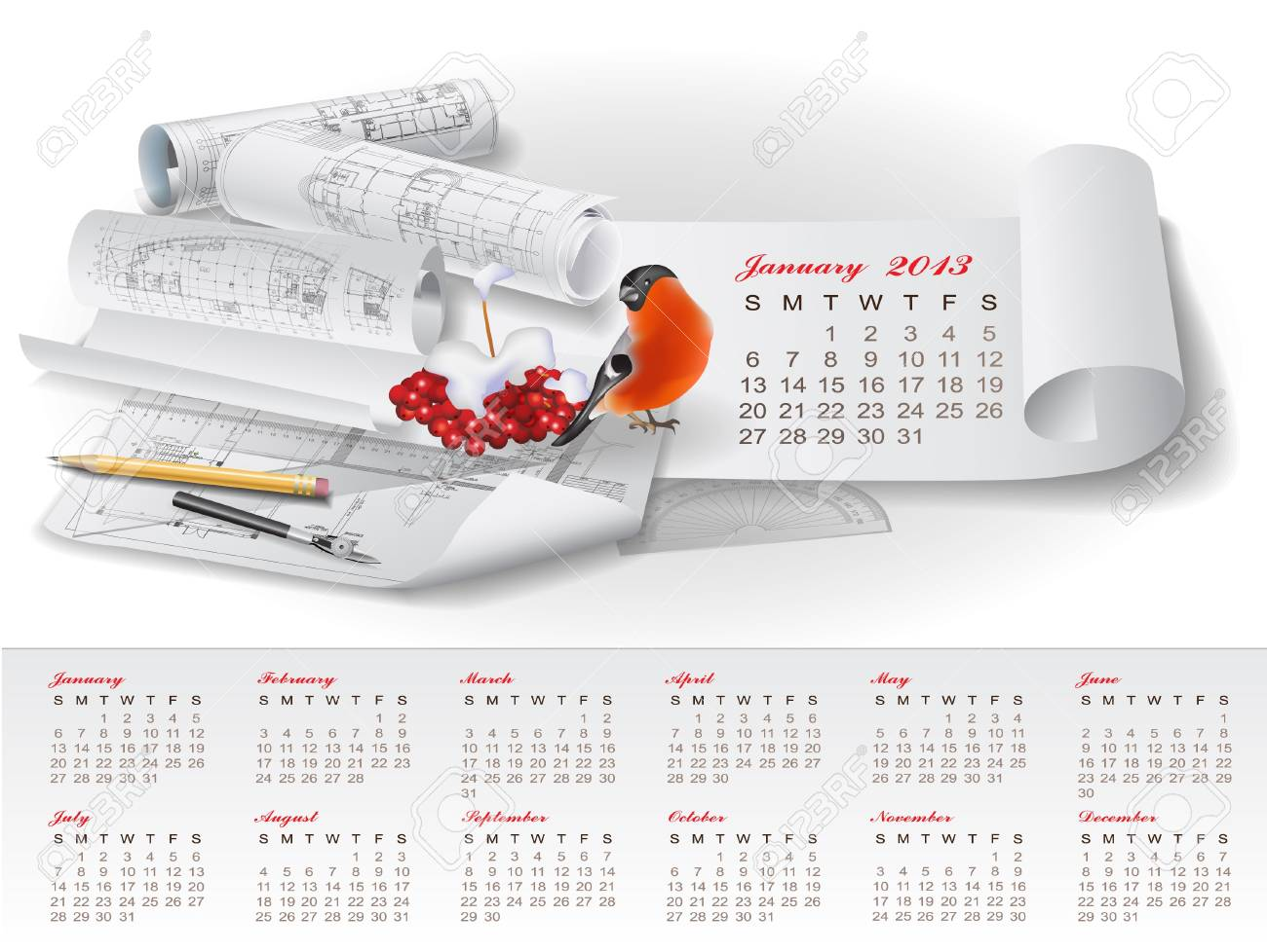 Calendar for 2013 year with colorful architectural design elements Stock Vector - 15477725