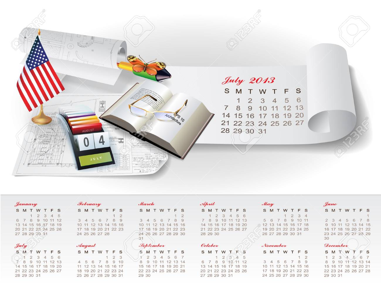 Calendar for 2013 year with colorful architectural design elements Stock Vector - 15477668