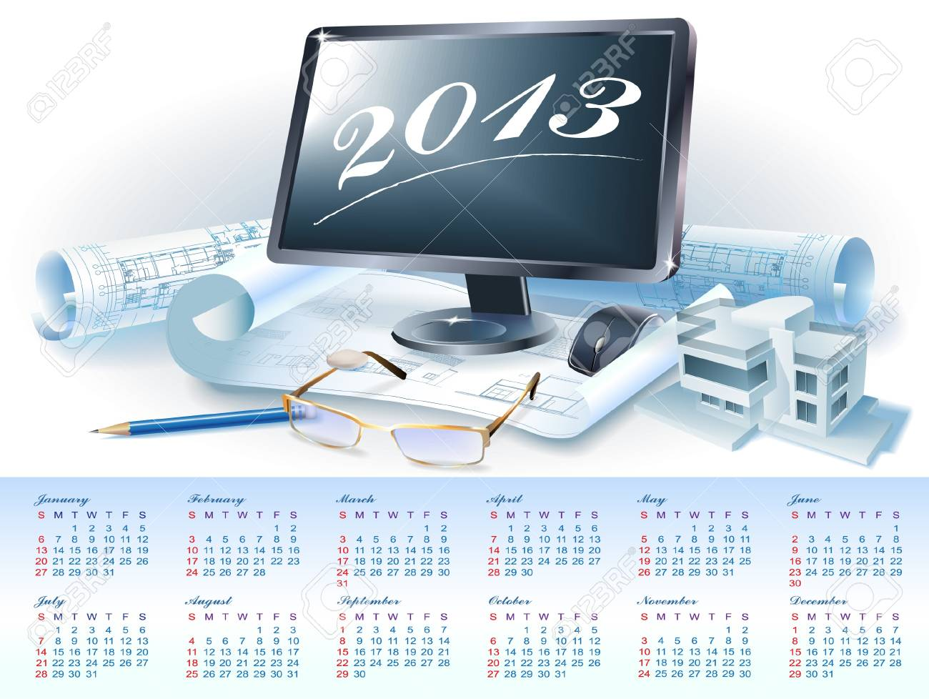 Calendar for 2013 year with colorful architectural design elements Stock Vector - 16651091