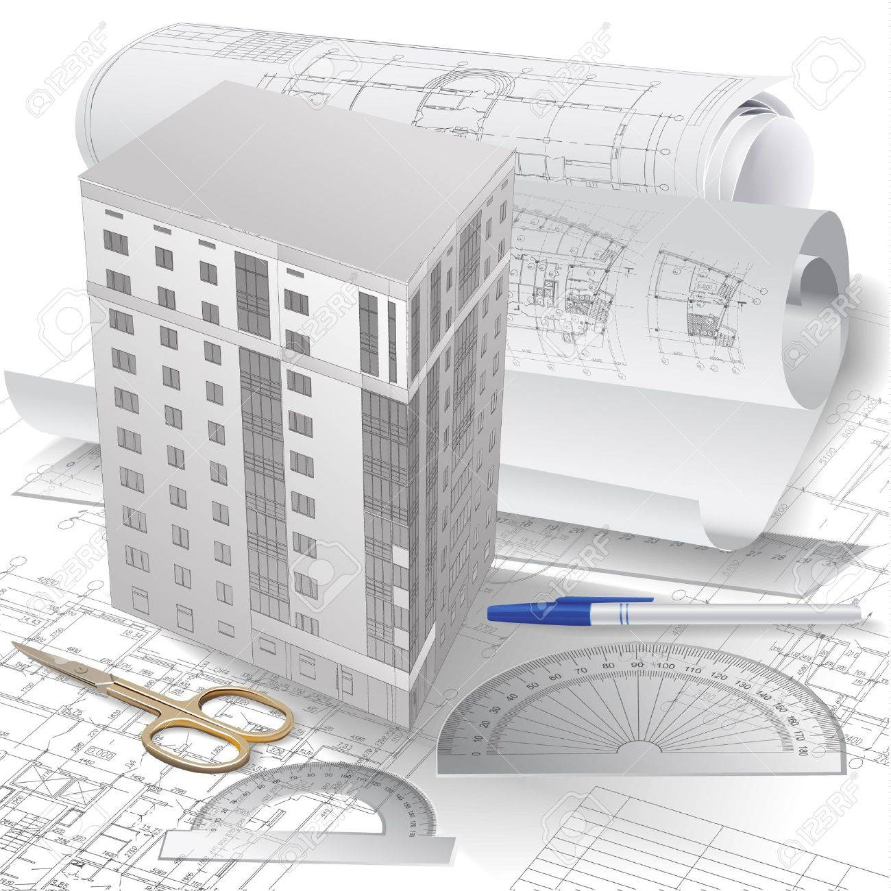 Architectural Background With 3 D Building Model Drawing Tools And Rolls Of Drawings Stock