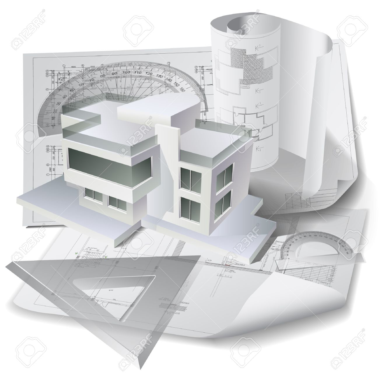 Architectural Background With 3d Building Model Drawing Tools And Rolls Of Drawings Stock Vector