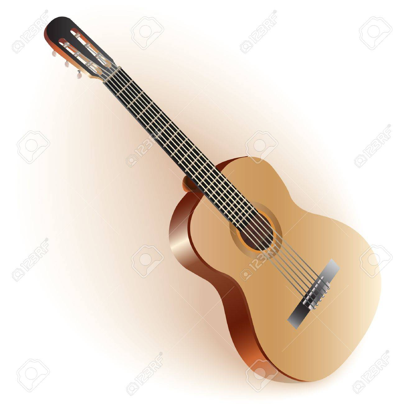 Musical series - Classical Spanish guitar, isolated on white background Stock Vector - 19127479