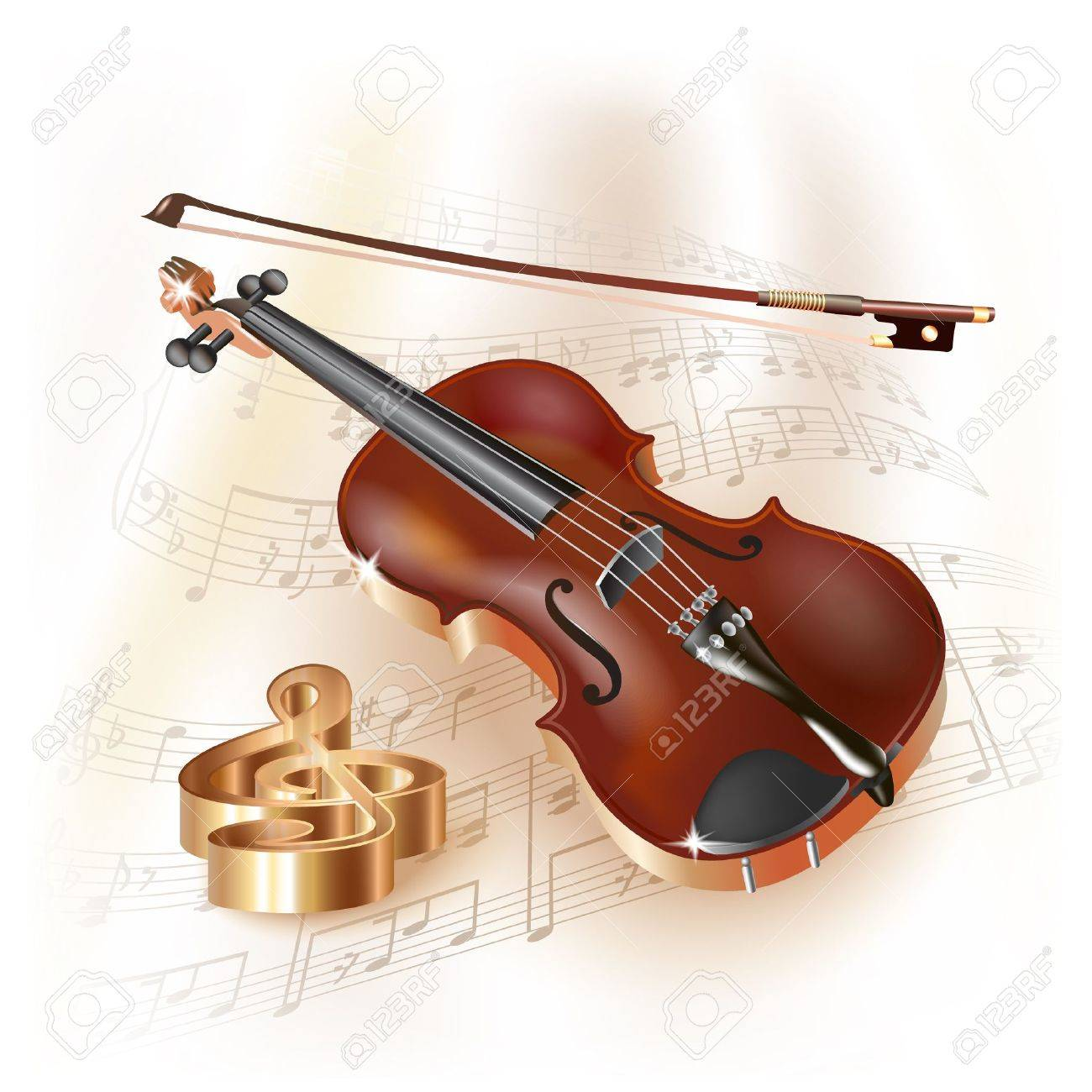 Musical series - Classical violin, isolated on white background with musical notes Stock Vector - 19127676