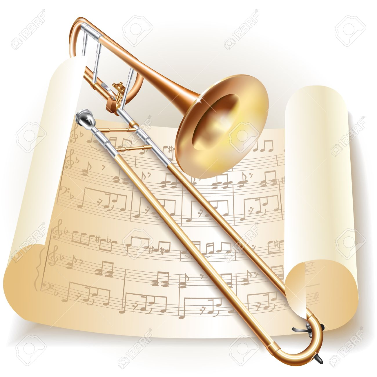 Musical series - Classical trombone with notes in retro style - 19127641