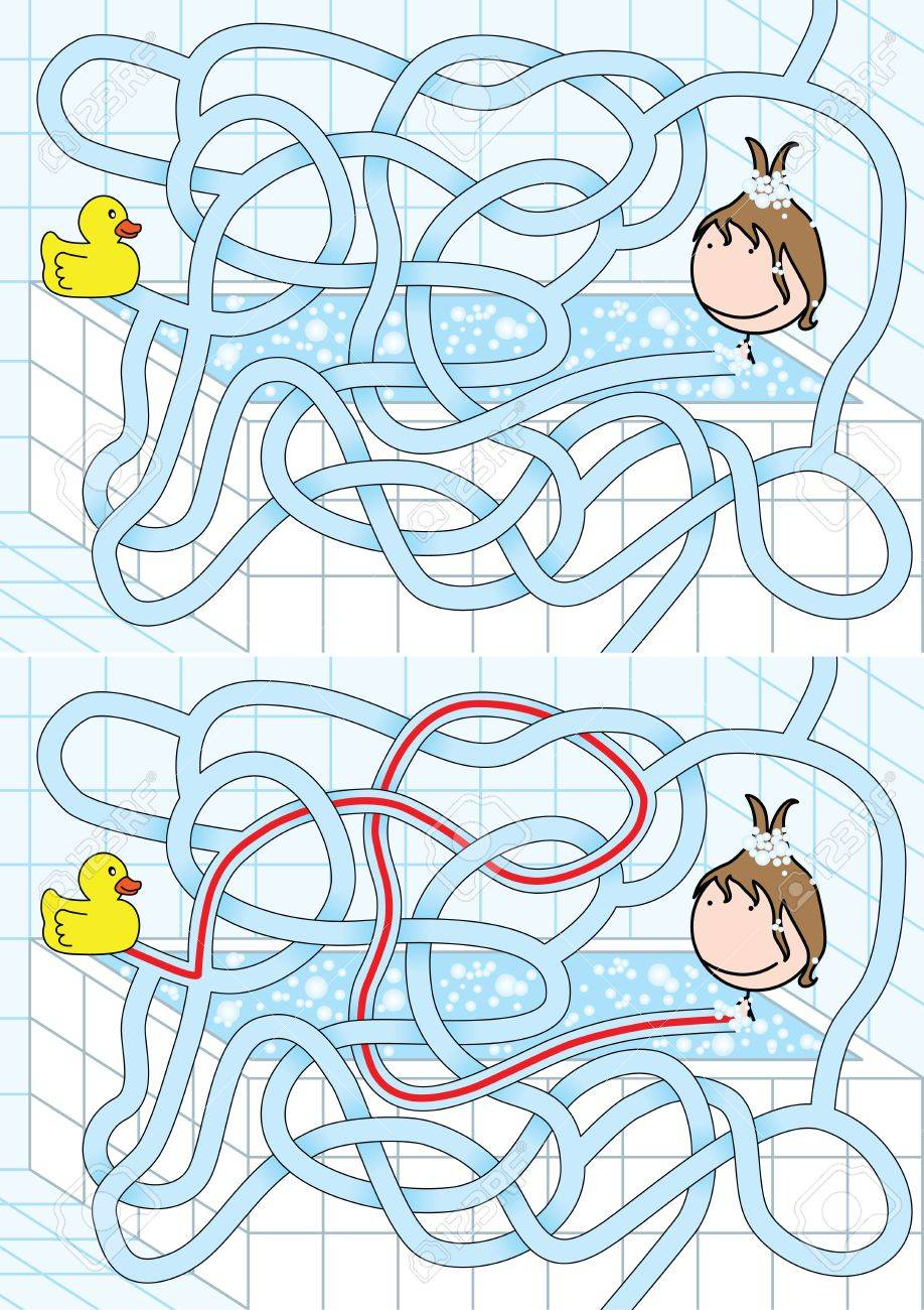 Easy bathroom maze for kids with solution Stock Vector - 9200813