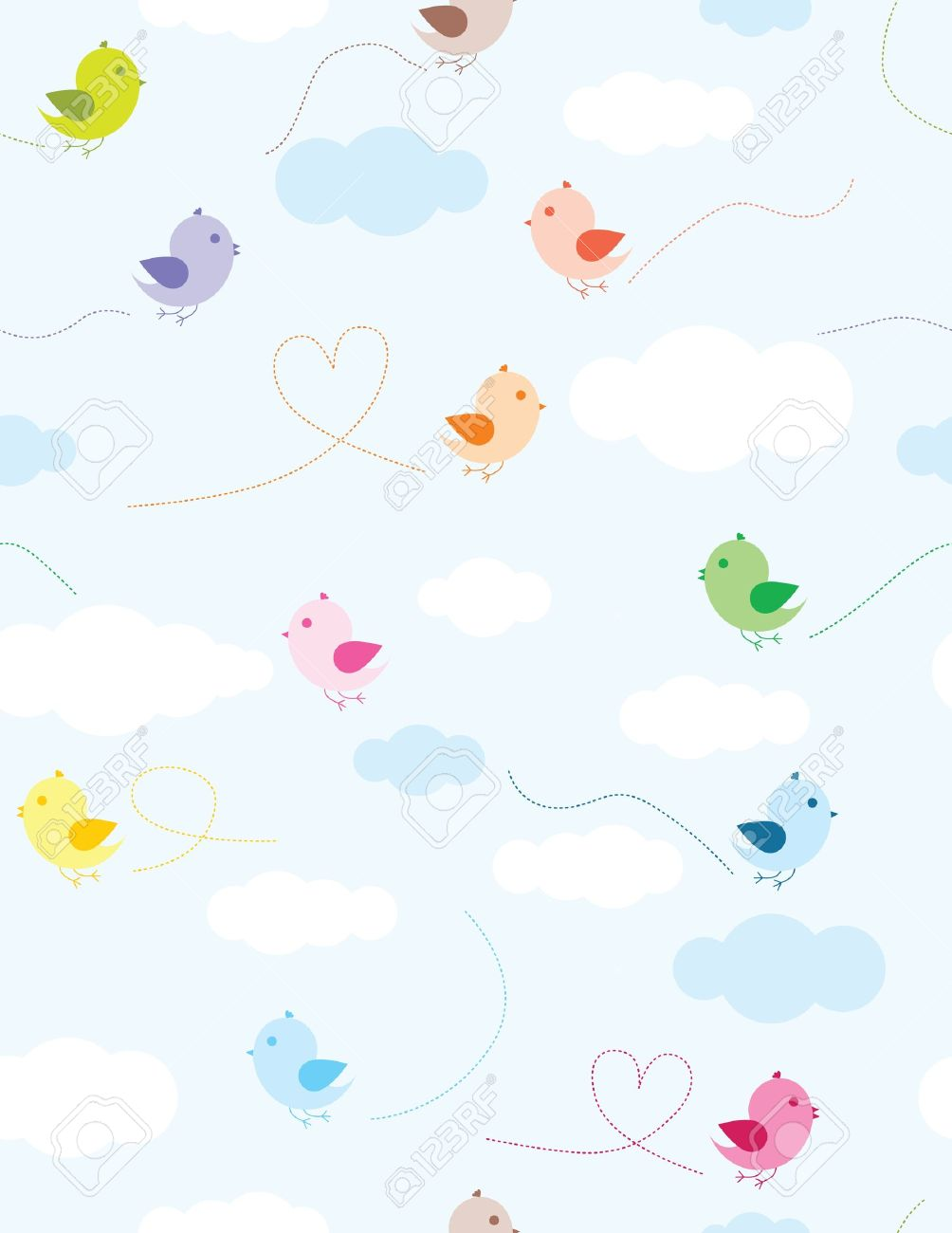 Colorful birds and clouds seamless pattern for kids Stock Vector - 9316201