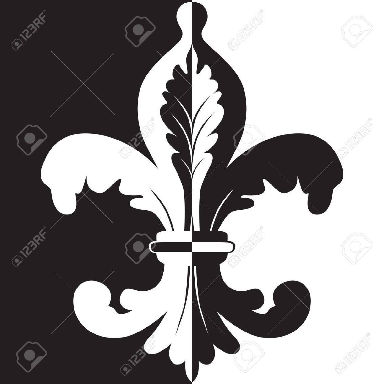 Black And White Illustration Of Fleur De Lis Royalty Free Cliparts