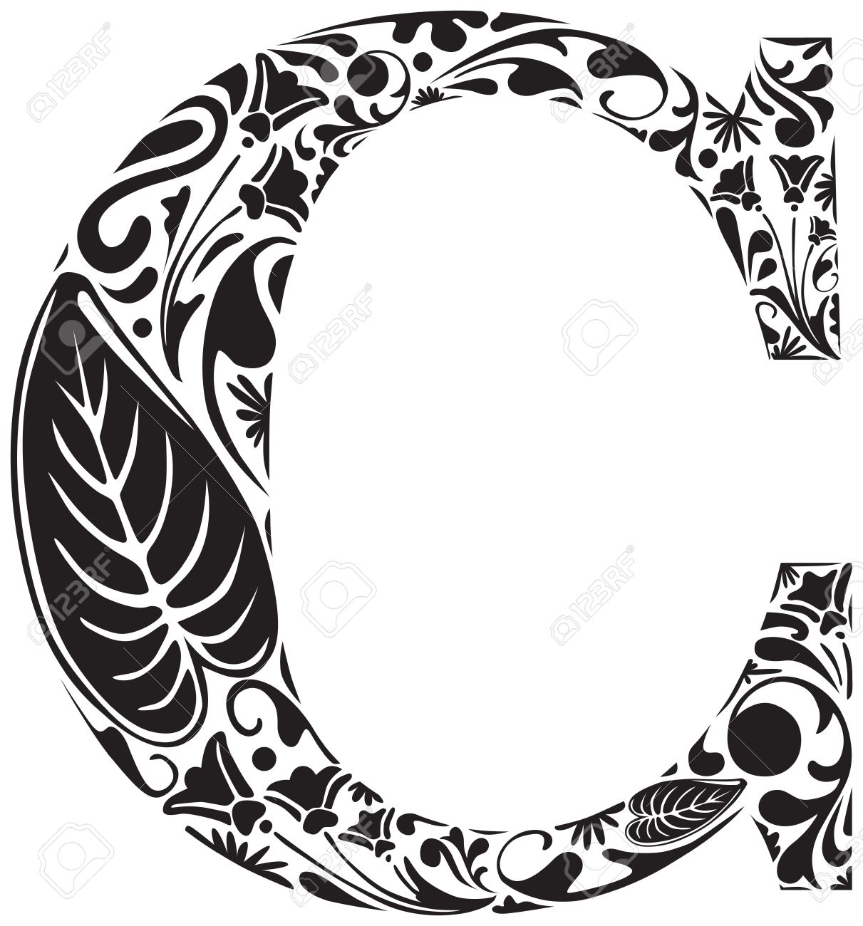 Floral Initial Capital Letter C Royalty Free Cliparts Vectors And