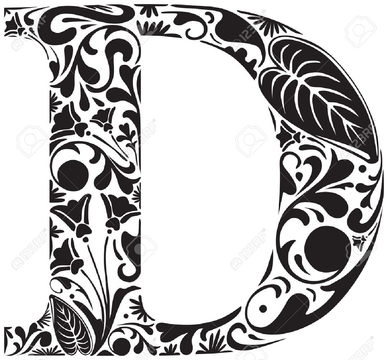 Floral Initial Capital Letter D Royalty Free Cliparts Vectors And