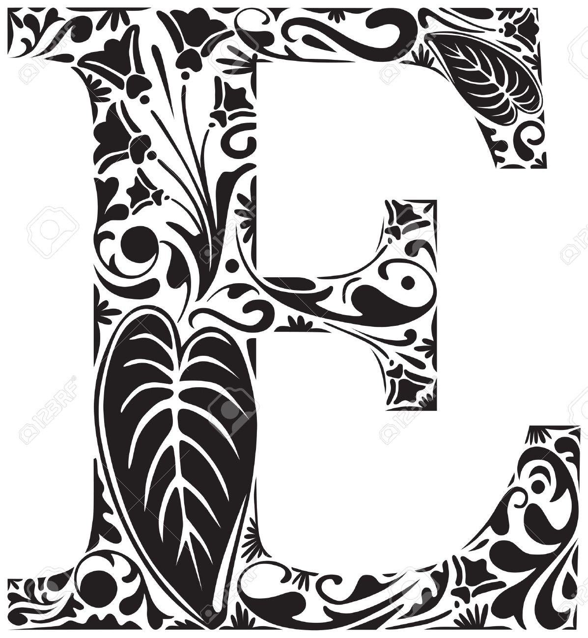 Floral Initial Capital Letter E Stock Vector   18453452