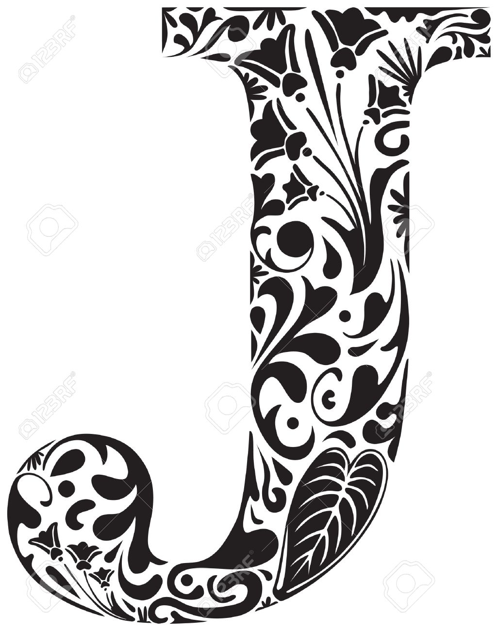 Floral Initial Capital Letter J Royalty Free Cliparts, Vectors