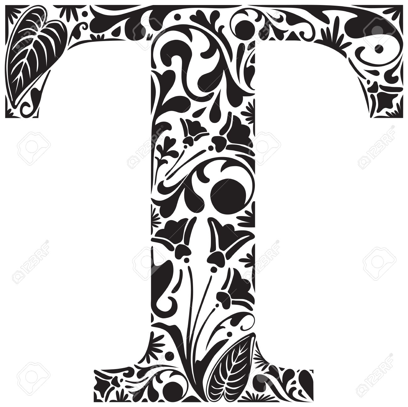 Floral Initial Capital Letter T Royalty Free Cliparts Vectors And