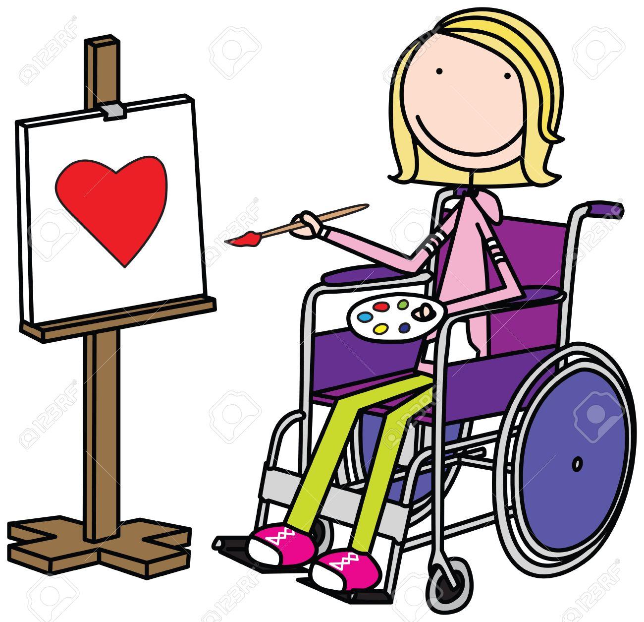 車椅子に座って、絵画女の子のイラスト ロイヤリティフリークリップ