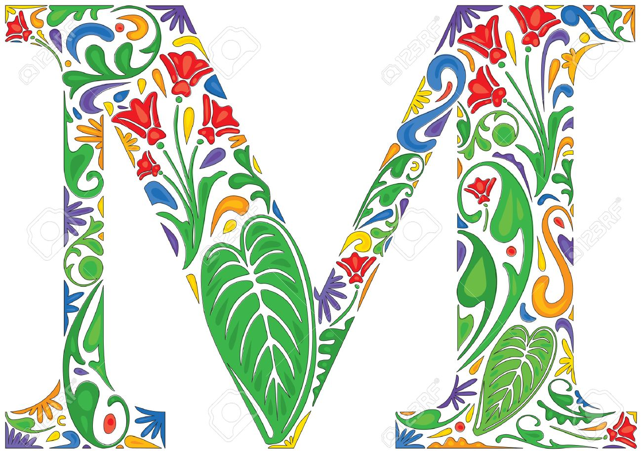 Colorful Floral Initial Capital Letter M Stock Vector