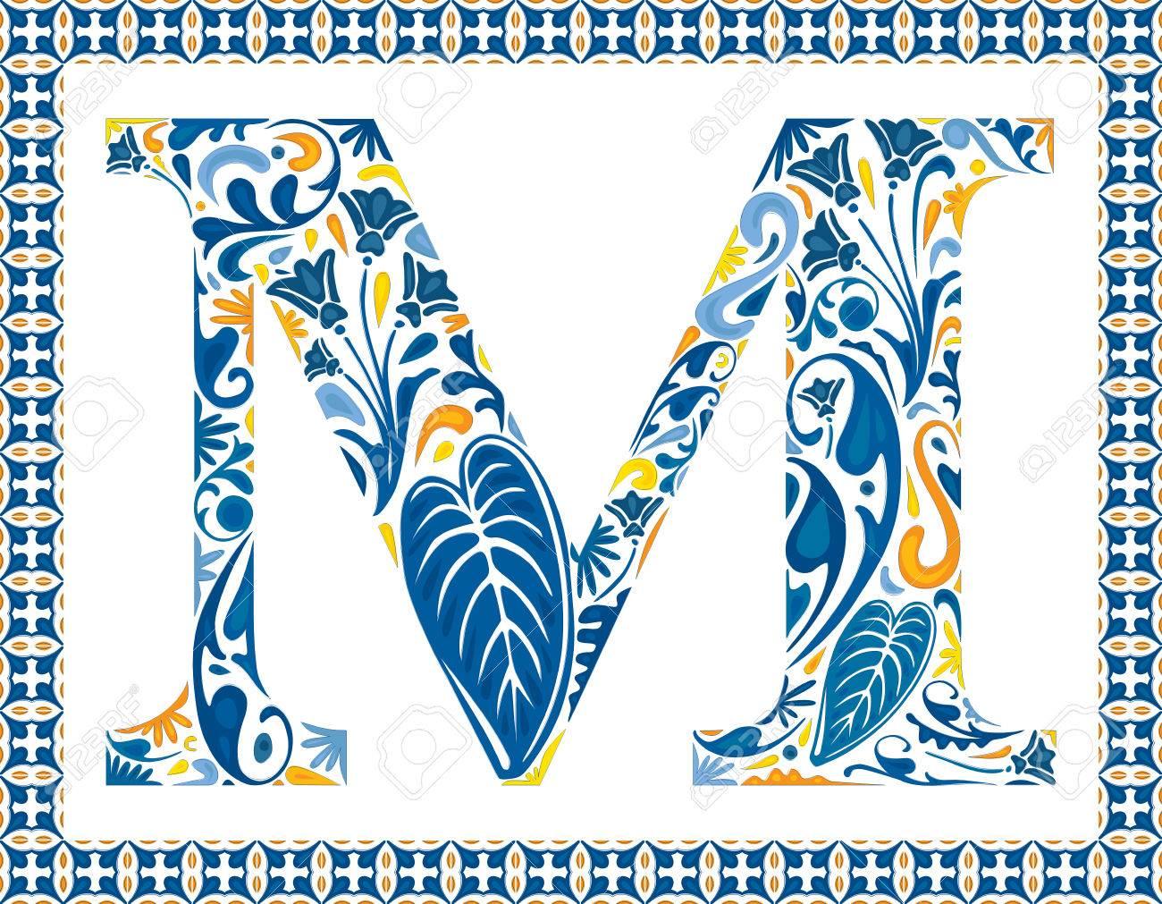 Blaue Blumengroßbuchstabe M In Rahmen Der Portugiesischen Fliesen ...