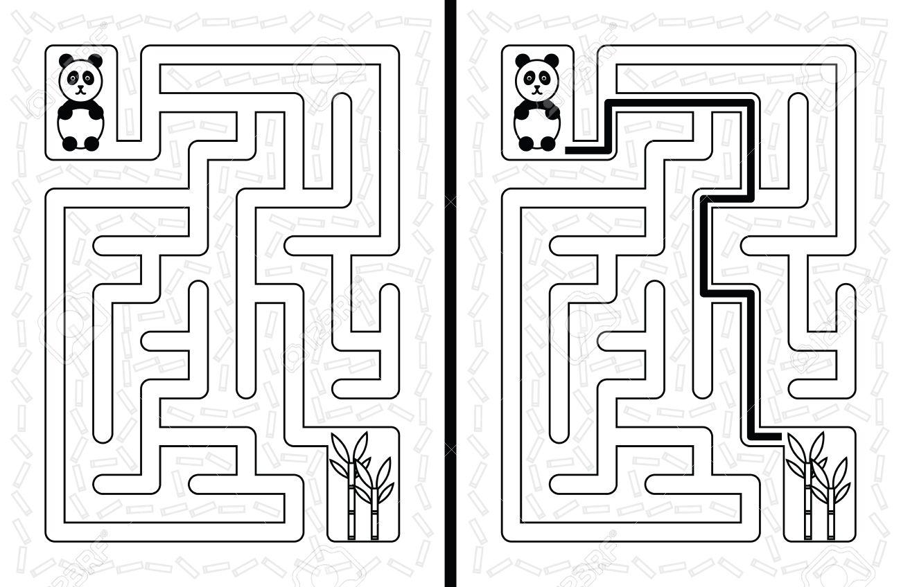 Einfache Panda Labyrinth Für Jüngere Kinder Mit Einer Lösung In ...