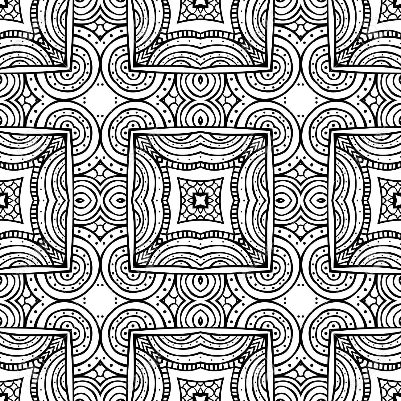 Kleurplaten Voor Volwassenen Tegels.Naadloos Geillustreerd Patroon Gemaakt Van Met De Hand Getekende