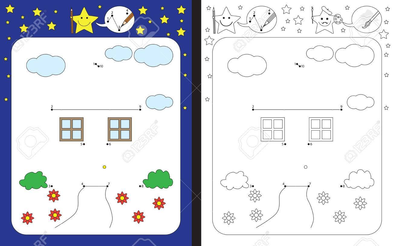 Preschool Arbeitsblatt Für Feinmotorik üben Und Zahlen Zu Erkennen ...