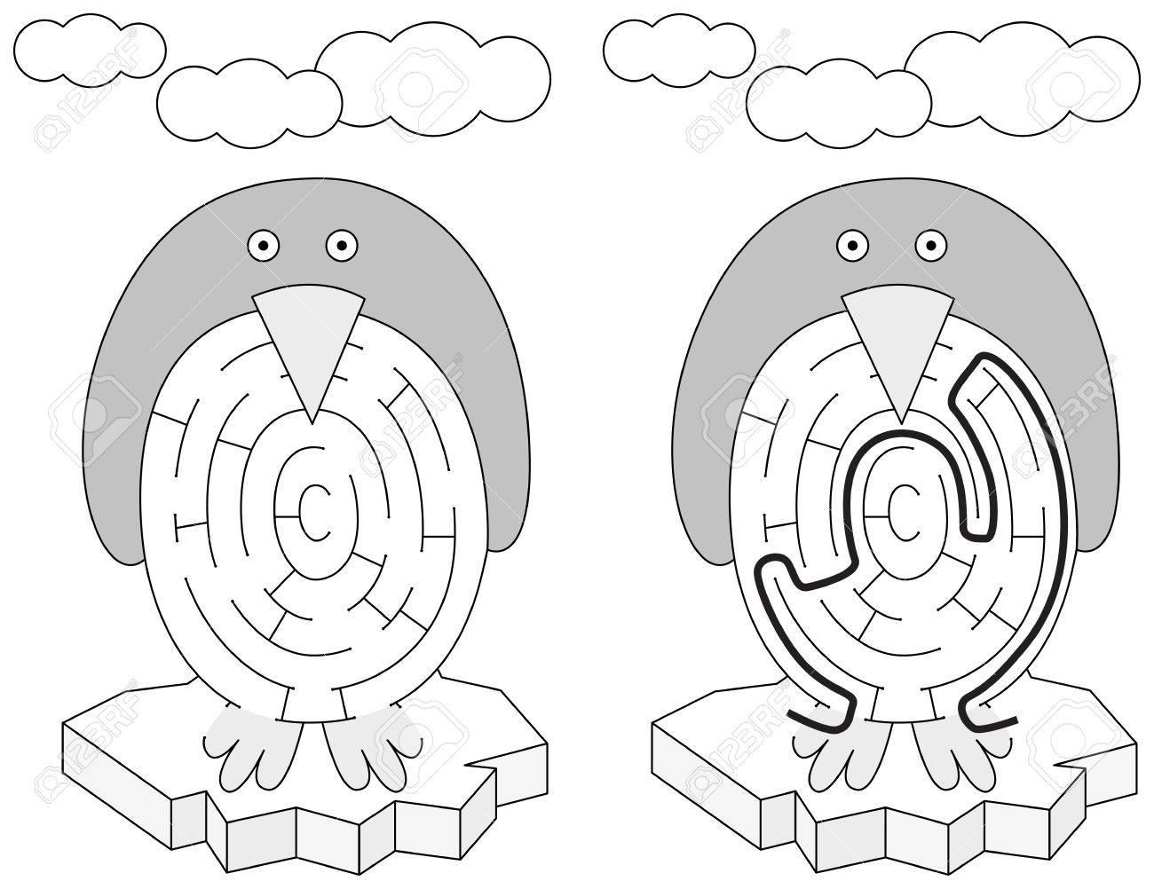 Einfache Pinguin Labyrinth Für Jüngere Kinder Mit Einer Lösung In ...