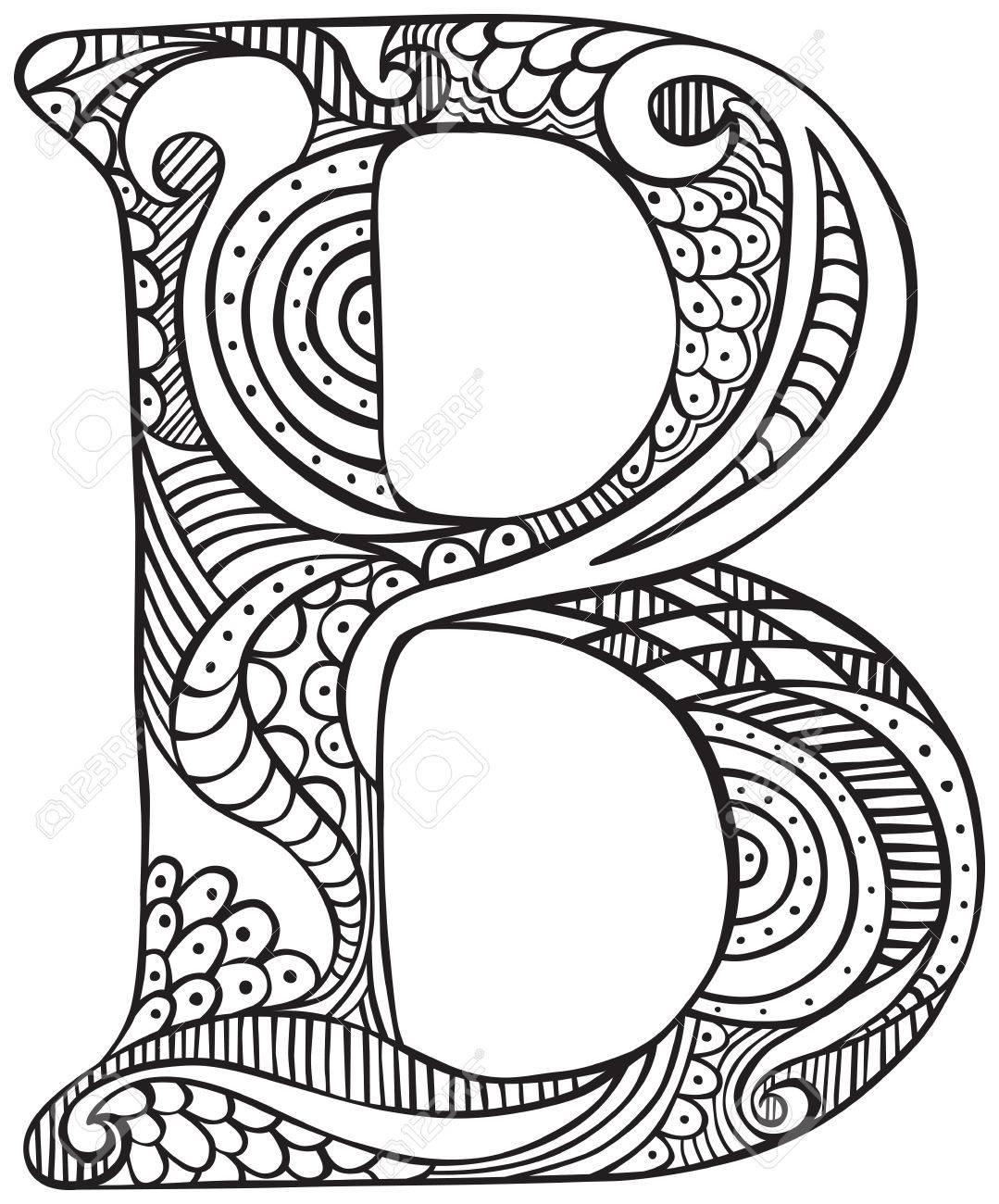 Mão Desenhada Letra Maiúscula B Em Preto Folha De Coloração Para Adultos