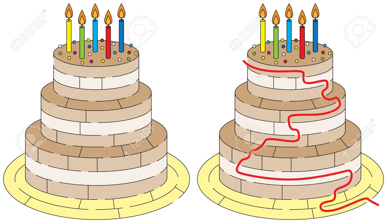 Easy Birthday Cake Maze For Younger Kids With A Solution Royalty