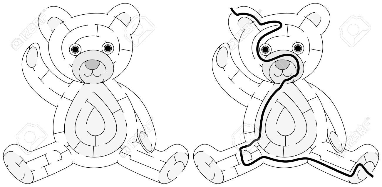 Einfache Teddybär Labyrinth Für Jüngere Kinder Mit Einer Lösung In ...