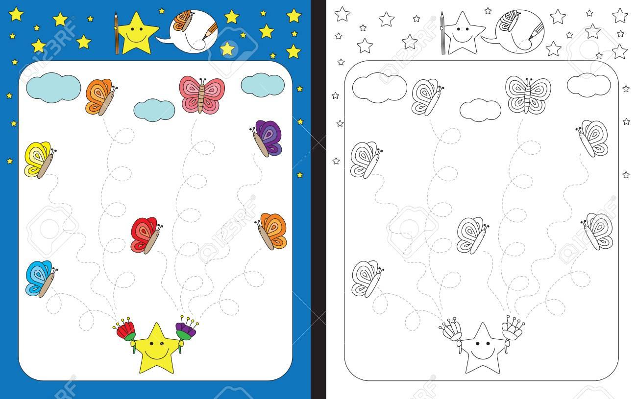 Preschool Arbeitsblatt Für Die Feinmotorik Zu üben - Tracing ...