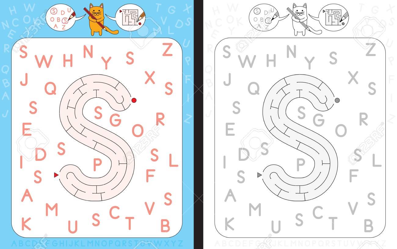 Arbeitsblatt Für Lernalphabet - Großbuchstaben S - Labyrinth In Form ...